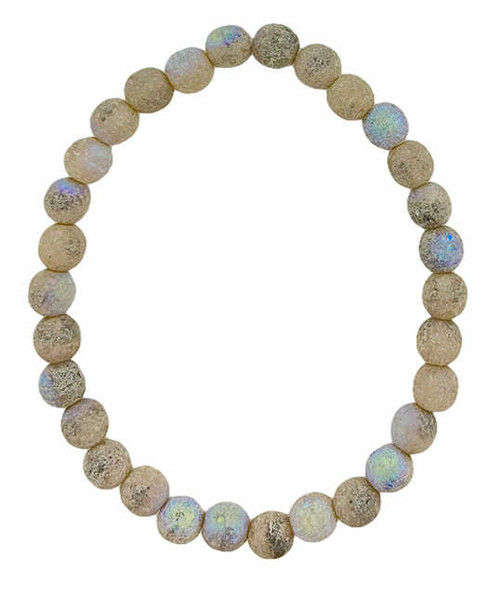 6mm Round Glass Beads (Druk), Ivory w/ an Antique Silver, AB & Etched Finish (Qty: 30)