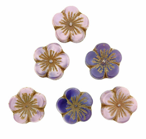 Large Hibiscus Flowers, Violet w/ Brown Wash, 21mm (Qty: 6)