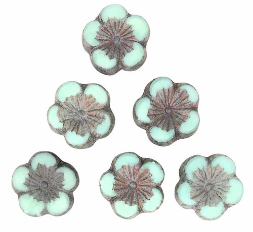 Large Hibiscus Flowers, Turquoise w/ Grey Metallic Finish, 21mm (Qty: 6)