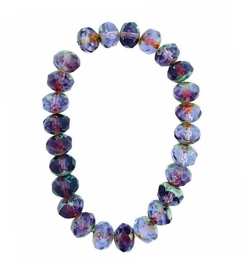 Faceted Rondelles, Purple & Light Blue w/ Picasso, 6x8mm (Qty: 25)