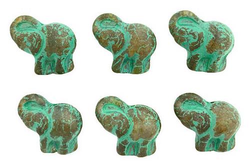 Elephant Beads, Matte Transparent w/ Bronze Finish & Sea Green Wash, 20x23mm (Qty: 6)