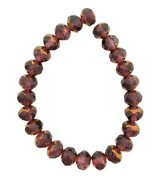 Faceted Rondelles, Purple w/ Brass Finish, 5x7mm (Qty: 25)