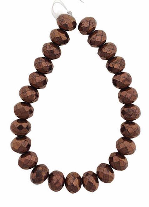Faceted Rondelles, Metallic Bronze, 5x7mm (Qty: 25)