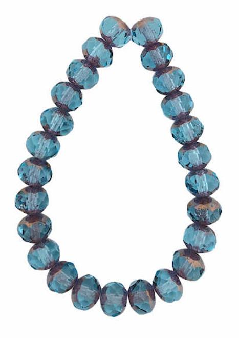Faceted Rondelles, Pale Blue w/ Copper Finish, 5x7mm (Qty: 25)