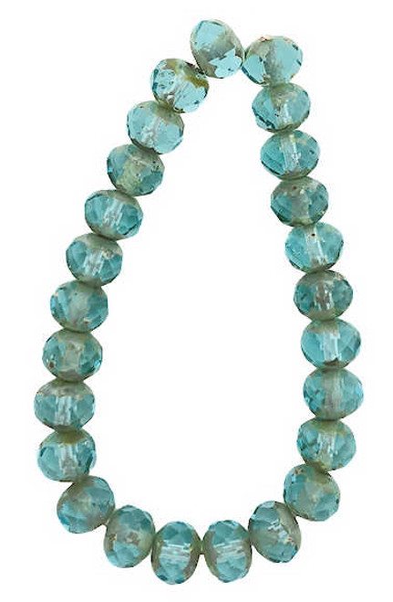 Faceted Rondelles, Transparent Turquoise w/ Picasso Finish, 5x7mm (Qty: 25)