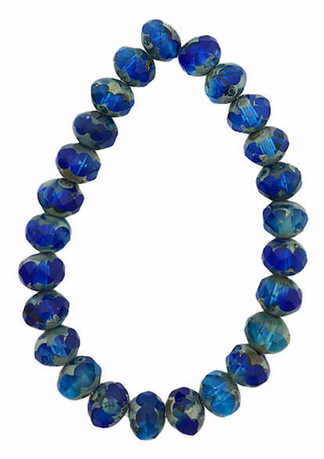 Faceted Rondelles, Sapphire and Teal Blue w/Picasso Finish, 5x7mm (Qty: 25)