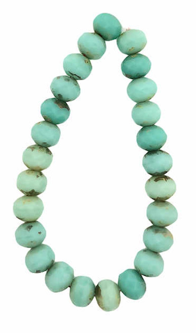 Faceted Rondelles, Turquoise Mix w/ Picasso Finish, 5x7mm (Qty: 25)