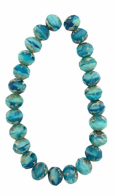 Faceted Rondelles, Tiffany Blue & Blue Turquoise, 5x7mm (Qty: 25)