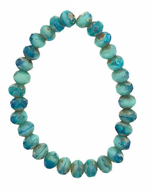 Faceted Rondelles, Tiffany Blue & Blue Turquoise, 3x5mm (Qty: 30)
