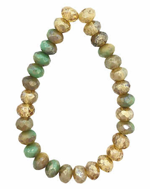 Faceted Rondelles, Tan & Sea Green w/ Heavy Picasso Finish, 3x5mm (Qty: 30)