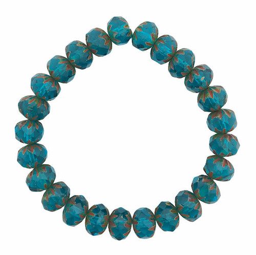 Cruller Rondelle Beads, Cyan w/ Picasso Finish, 6x9mm (Qty: 25)