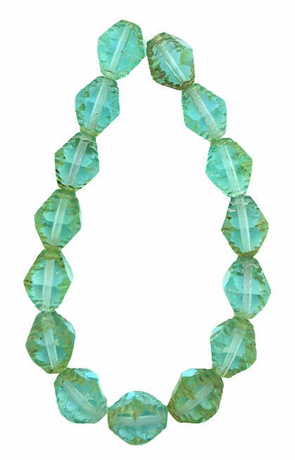 Faceted Bicones, Light Turquoise w/ Picasso Finish, 8x10mm (Qty: 15)