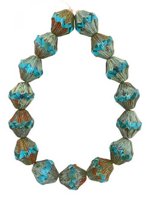 Baroque Bicones, Sky Blue w/ Picasso Finish, 11x13mm (Qty: 15)