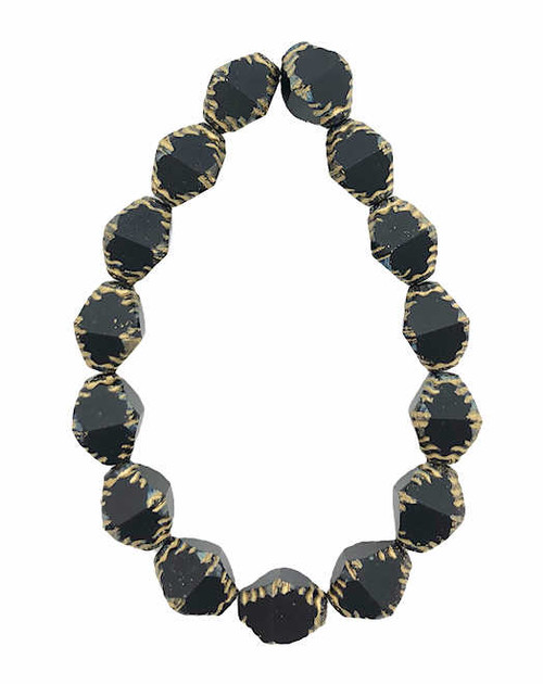 Faceted Bicones, Black w/ Picasso Finish & Gold Wash, 10x8mm (Qty: 15)