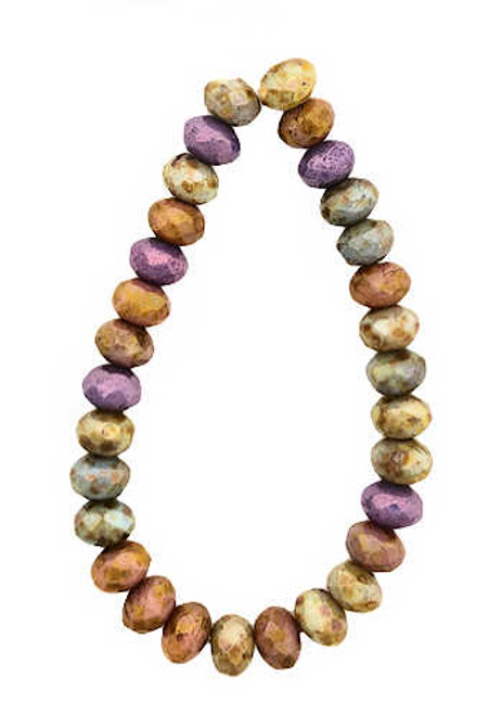 Faceted Rondelles, Mix of Grape, Apricot, Stone & Sage w/ Picasso Finish, 3x5mm (Qty: 30)