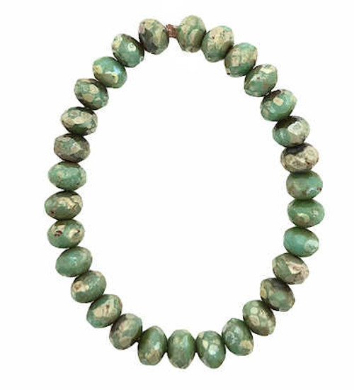 Faceted Rondelles, Sea Green w/ Picasso Finish, 3x5mm (Qty: 30)