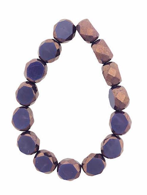 8mm Table Cut Fire Polished Beads, Plum w/ Bronze Finish (Qty: 15)