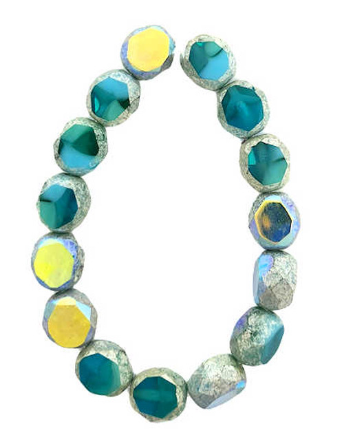 8mm Table Cut Fire Polished Beads, Teal & Sky Blue w/ an Antique Silver & AB Finish (Qty: 15)