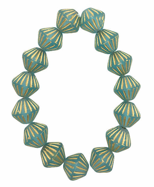 Tribal Bicones, Sky Blue w/ Gold Wash, 11mm (Qty: 15)
