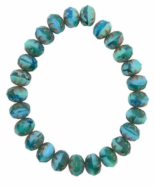 Cruller Rondelle Beads, Tea Green, Malibu Blue & Emerald w/ Picasso Finish, 6x9mm (Qty: 25)