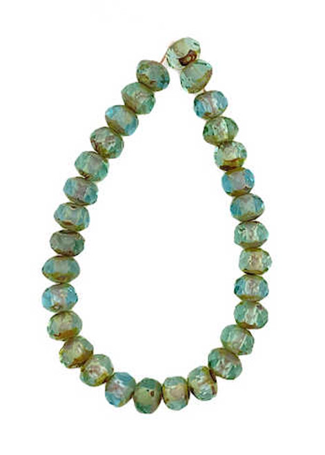 Faceted Rondelles, Turquoise w/ Picasso Finish, 3x5mm (Qty: 30)