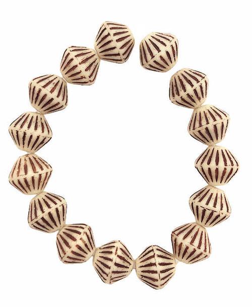 Tribal Bicones, Ivory w/ Heavy Brown Finish, 8x15mm (Qty: 15)