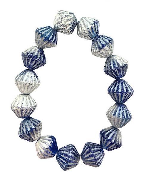 Tribal Bicones, Cobalt Blue w/ Heavy Silver Finish, 8x15mm (Qty: 15)