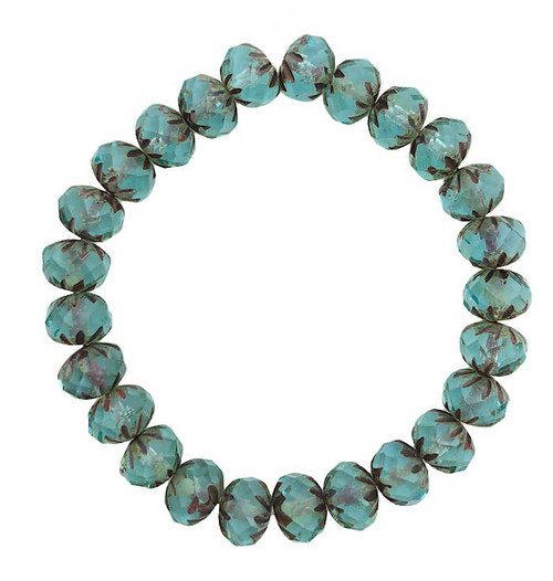 Cruller Rondelle Beads, Turquoise Green w/ Picasso Finish, 6x9mm (Qty: 25)