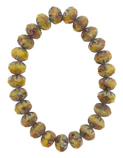 Cruller Rondelle Beads, Yellow & Pumpkin Blend w/ Picasso Finish, 6x9mm (Qty: 25)