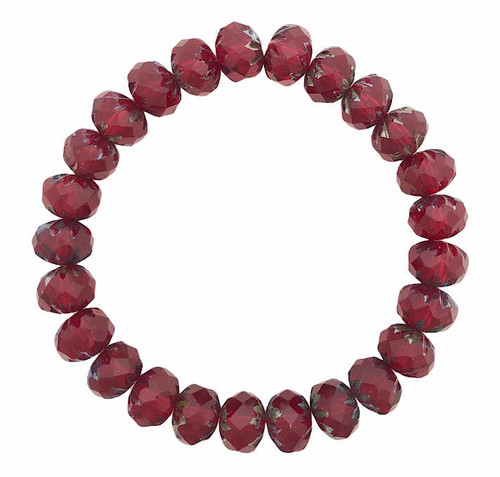 Cruller Rondelle Beads, Ruby Red w/ Picasso Finish, 6x9mm (Qty: 25)