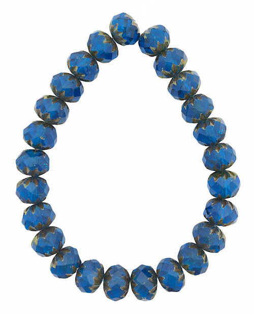 Cruller Rondelle Beads, Pacific Blue w/ Picasso Finish, 6x9mm (Qty: 25)