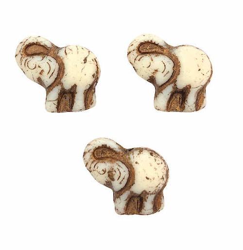 Elephant Beads, Ivory w/ Bronze Wash, 20x23mm (Qty: 6)