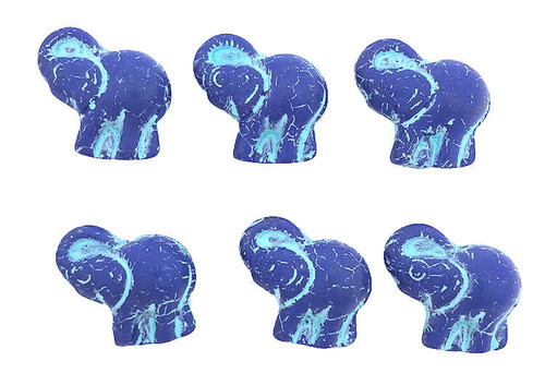 Elephant Beads, Matte Cobalt w/ Turquoise Wash, 20x23mm (Qty: 6)