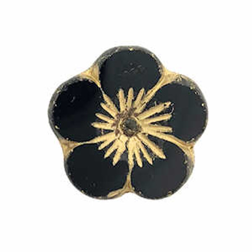 Large Hibiscus Flowers, Black w/ Gold Wash & Picasso Finish, 21mm (Qty: 6)