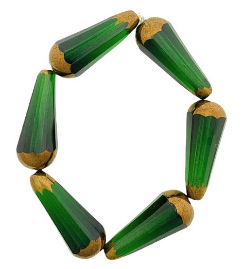 Faceted Dangle Drops, Forest Green w/ Bronze Finish, 9x20mm (Qty: 6)