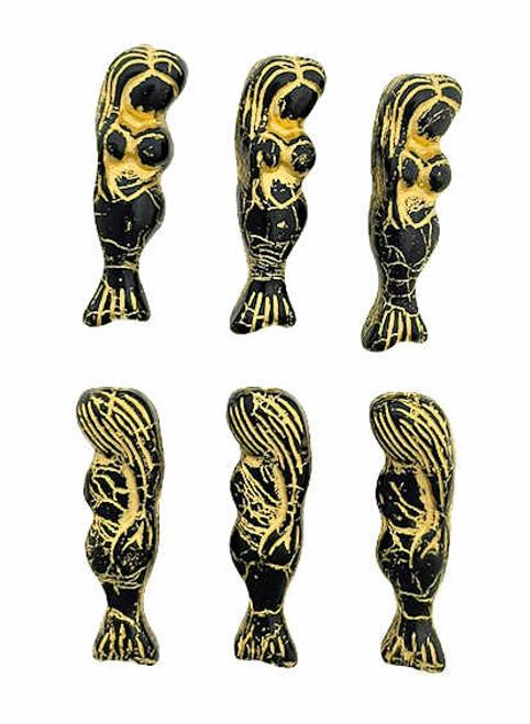 Mermaid Beads, Black/ Gold Wash, 5x25mm (Qty: 6)