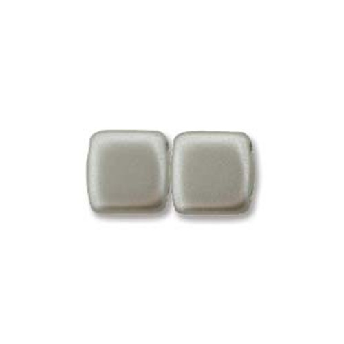 2-Hole Tile Beads, Matte Silver (Qty: 25)