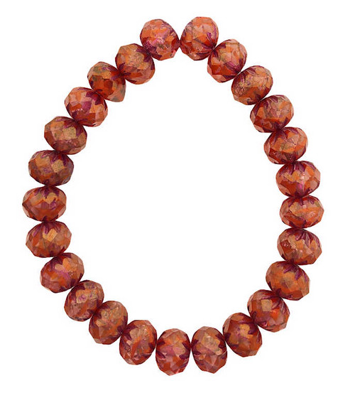 Cruller Rondelle Beads, Boysenberry  & Ladybug Red w/ Gold Luster & Pink Wash, 6x9mm (Qty: 25)