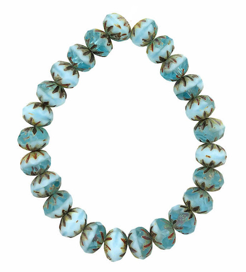 Cruller Rondelle Beads, Sky Blue w/ Picasso Finish, 6x9mm (Qty: 25)