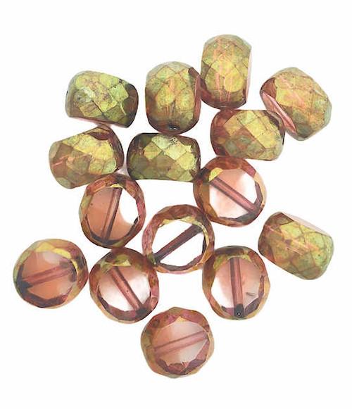 12mm Table Cut Fire Polished Beads, Salmon w/ Brass Finish (Qty: 15)