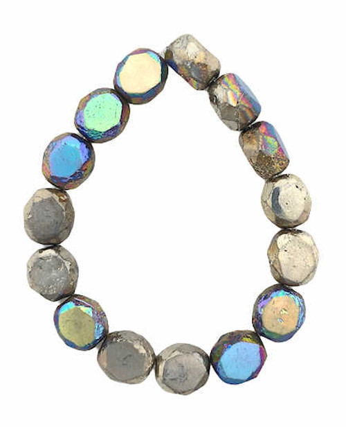 8mm Table Cut Fire Polished Beads, Rainbow Silver w/ Etched Finish (Qty: 15)