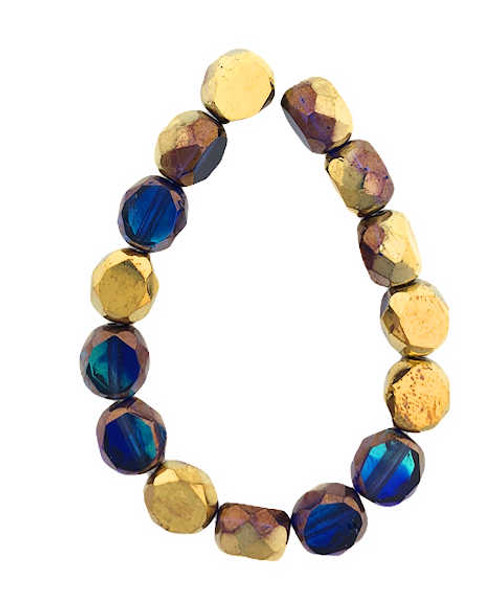 8mm Table Cut Fire Polished Beads, Sapphire w/ a Bronze & Gold Finish (Qty: 15)