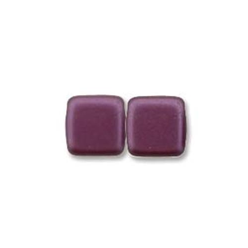 2-Hole Tile Beads, Pastel Bordeaux  (Qty: 25)