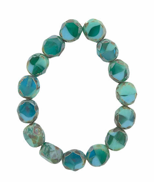 8mm Table Cut Fire Polished Beads, Sea Green & Sky Blue w/ a Picasso Finish (Qty: 15)