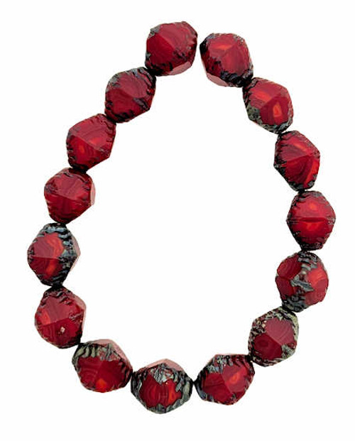 Faceted Bicones, Ruby & Ladybug Red w/ Picasso Finish, 10x8mm (Qty: 15)