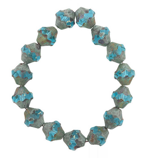 Baroque Bicones, Sky Blue w/ Picasso Finish, 10x11mm (Qty: 15)
