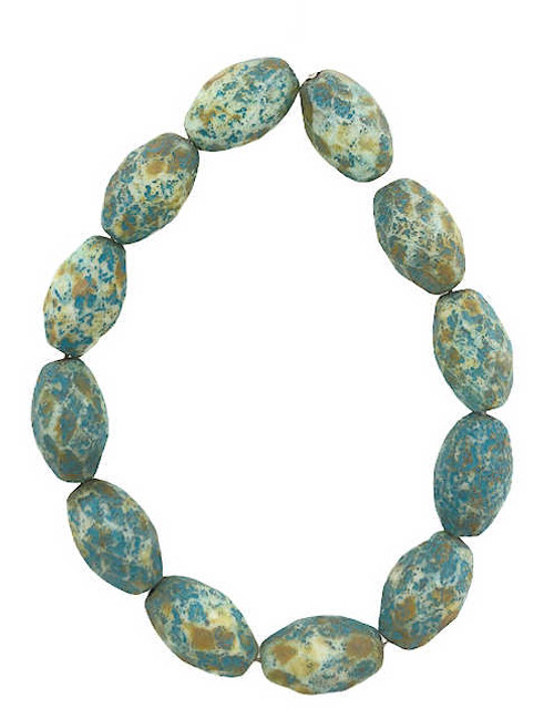 Oval Fire Polished Beads, Ivory w/ Picasso & Etched Finish & Turquoise Wash, 8x12mm (Qty: 12)