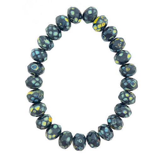 Faceted Rondelles, Black w/ Picasso Finish, 6x8mm (Qty: 25)