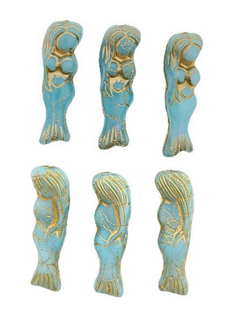 Mermaid Beads, Sky Blue w/ Bronze Wash, 5x25mm (Qty: 6)