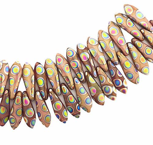 1-Hole Czech Glass Dagger Beads, Salmon w/ Peacock Polk-a-dots (5 x 16mm) (Qty: 25)